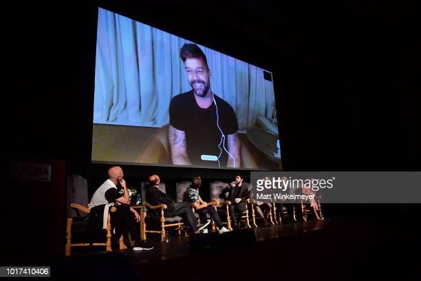 Ricky Martin video calls in as Ryan Murphy Brad Simpson Tom Rob Smith Darren Criss Edgar Ramirez Finn Wittrock and Alexis Martin Woodall attend the...