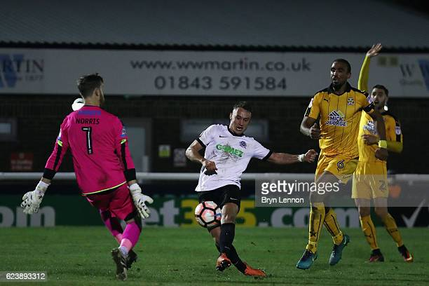 Ricky Miller of Dover Athletic scores during the Emirates FA Cup First Round Replay match between Dover Athletic and Cambridge United at the Crabble...