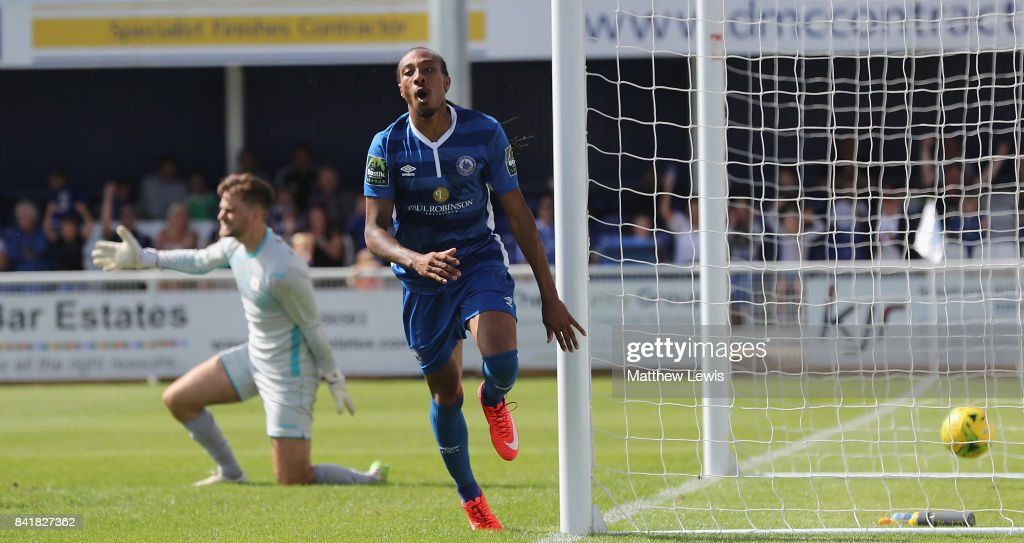 Ricky Modest of Billericay Town celebrates his goal during The Emirates FA Cup Qualifying First Round match between Billericay Town and Didcot Town on September 2, 2017 in Billericay, England.