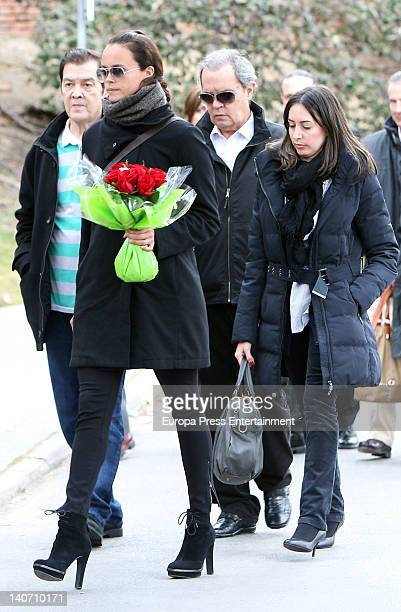 Ricky Morales Shaila Durcal and Antonio Morales junior attend the funeral for Carmen Barretto Valdes who died at 97 years old at La Almudena...