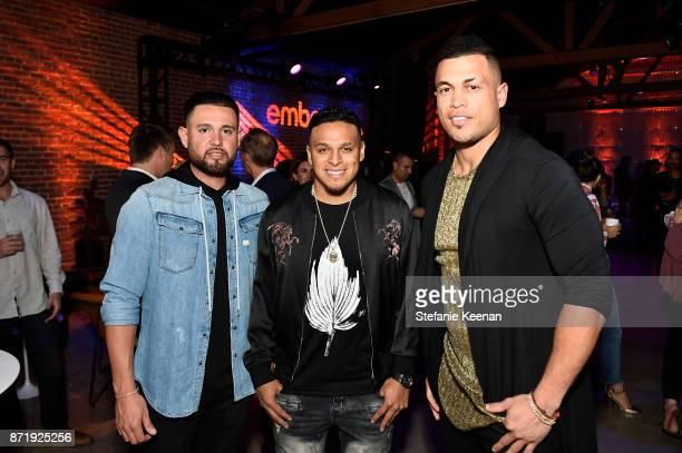 Ricky Nolasco A J Ramos and Giancarlo Stanton at Ember Celebrates VIP Launch Event with Iggy Azalea on November 8 2017 in Los Angeles California