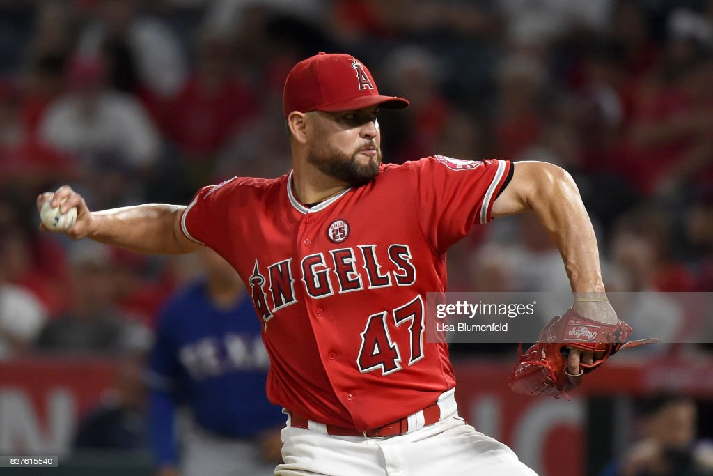 Ricky Nolasco #47 of the Los Angeles Angels of Anaheim pitches against the Texas Rangers at Angel Stadium of Anaheim on August 22, 2017 in Anaheim, California.