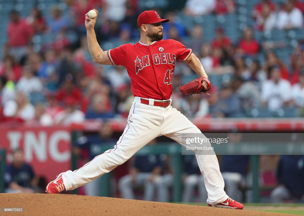 Ricky Nolasco #47 of the Los Angeles Angels of Anaheim throws a pitch in the first inning against the Seattle Mariners on September 30, 2017 at Angel Stadium of Anaheim in Anaheim, California.