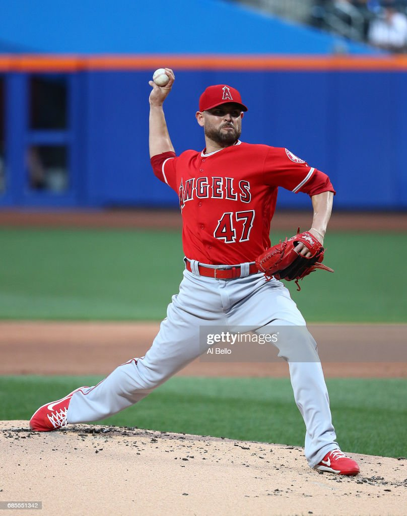 Ricky Nolasco #47 of the Los Angeles Angels pitches against the New York Mets during their game at Citi Field on May 19, 2017 in New York City.