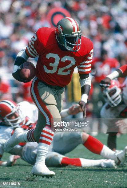 Ricky Patton of the San Francisco 49ers carries the ball against the Atlanta Falcons during an NFL football game November 8 1981 at Candlestick Park...