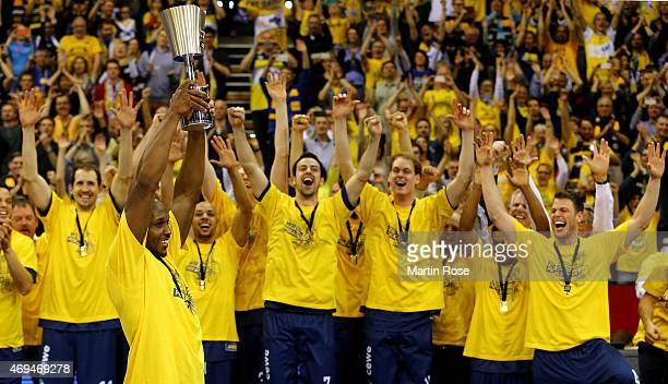 Ricky Paulding of Oldenburg lifts thr trophy after winning the BEKO BBL Top Four final game between EWE Baskets Oldenburg and Brose Baskets Bamberg...