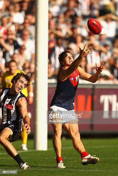 Ricky Petterd of the Demons drops a mark in the goal square during the round two AFL match between the Collingwood Magpies and the Melbourne Demons...