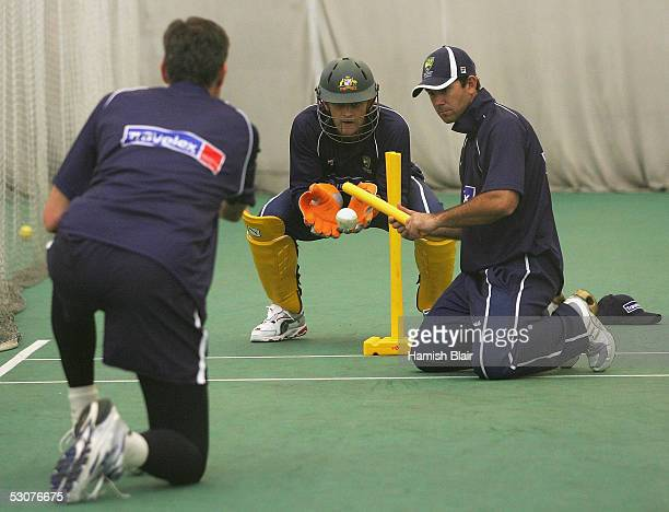 Ricky Ponting Adam Gilchrist and coach John Buchanan of Australia in action during training in the indoor nets at Sophia Gardens on June 16 2005 in...