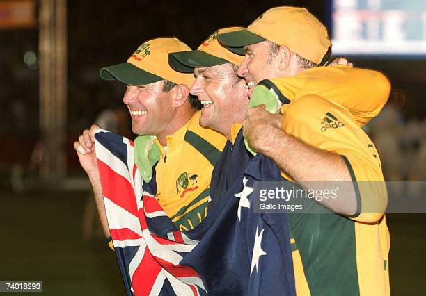 Ricky Ponting Adam Gilchrist and Matthew Hayden celebtates after winning the 2007 Cricket World Cup Final between Sri Lanka and Australia on April 28...