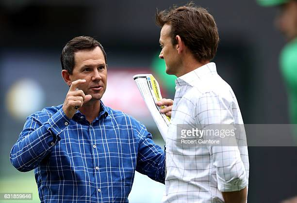 Ricky Ponting and Adam Gilchrist are seen prior to the Big Bash League match between the Melbourne Stars and the Brisbane Heat at Melbourne Cricket...