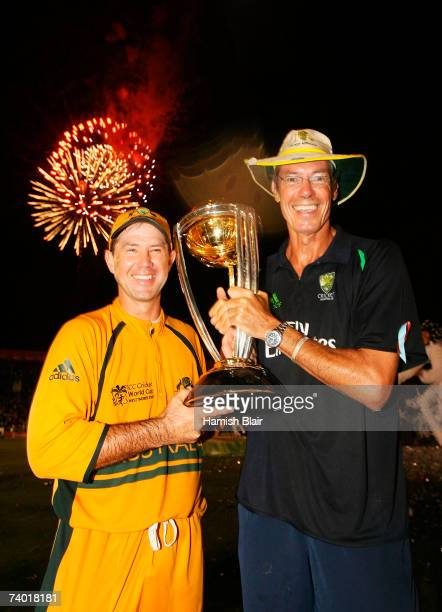 Ricky Ponting and coach John Buchanan of Australia hold the ICC Cricket World Cup trophy after the ICC Cricket World Cup Final between Australia and...