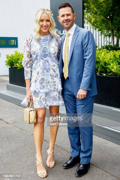 Ricky Ponting and his wife Rianna Jennifer Cantor pose outside the Lexus Marquee on Oaks Day at Flemington Racecourse on November 08 2018 in...