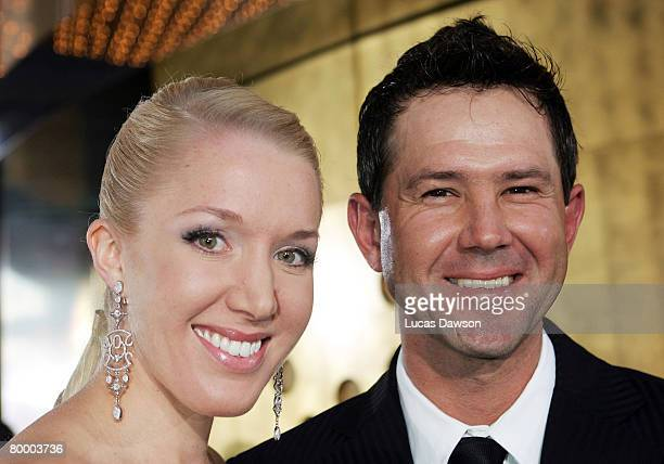 Ricky Ponting and his wife Rianna Ponting arrive at the 2008 Allan Border Medal at Crown Casino on February 26, 2008 in Melbourne, Australia.
