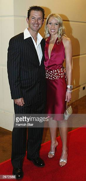 Ricky Ponting and wife Rianna arrive during The Allan Border Medal Award Dinner held at Crown Casino on February 12 2004 in Melbourne Australia