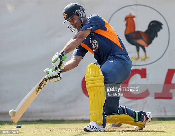Ricky Ponting bats in the nets after batting during an Australian nets session at Sardar Patel Stadium on February 19 2011 in Ahmedabad India