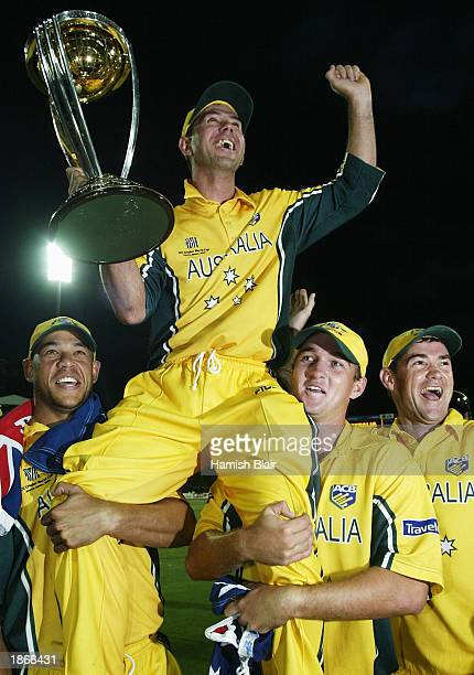 Ricky Ponting captain of Australia celebrates with the trophy after the World Cup Final One Day International Match between Australia and India...