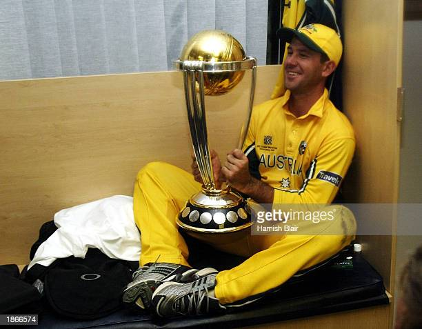 Ricky Ponting captain of Australia celebrates with the trophy in the rooms after the World Cup Final One Day International Match between Australia...