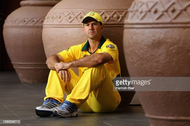 Ricky Ponting captain of Australia poses for a photo at the Marriott Courtyard Hotel on February 20, 2011 in Ahmedabad, India.