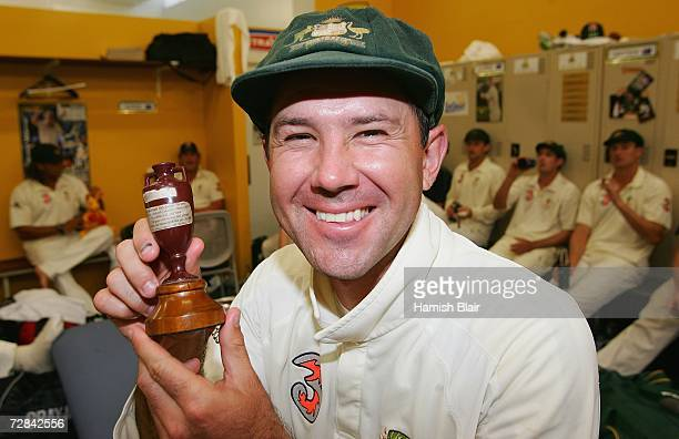 Ricky Ponting captain of Australiaposes with a replica Ashes Urn in the changing rooms after day five of the third Ashes Test Match between Australia...