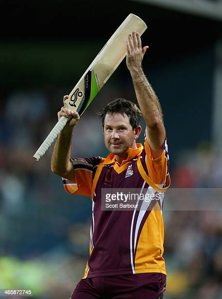Ricky Ponting gestures to the crowd as he leaves the field after retiring during his innings during the Ricky Ponting Tribute Match at Aurora Stadium...