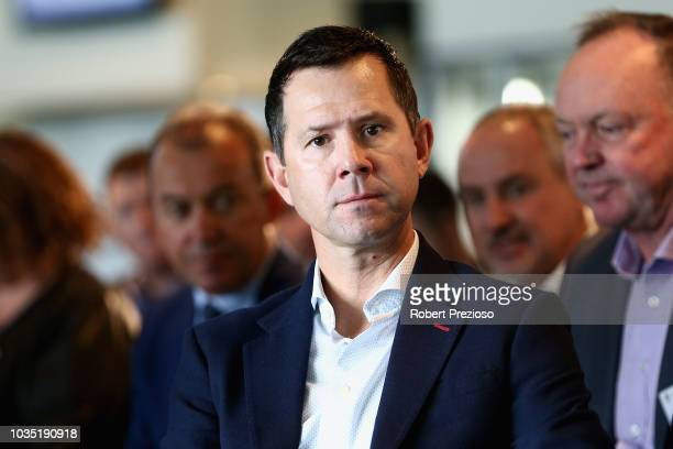 Ricky Ponting looks on during the BKT & Cricket Australia BBL Partnership Launch at Melbourne Cricket Ground on September 18, 2018 in Melbourne,...