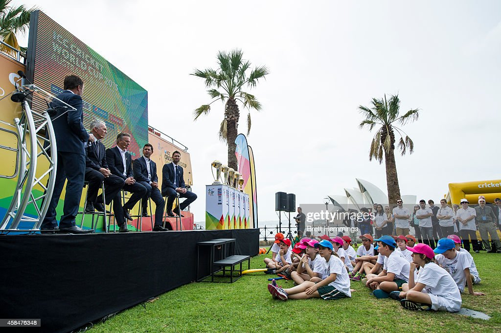 Ricky Ponting, Michael Clarke, Allan Border and Steve Waugh speak on stage during the ICC 2015 Cricket World Cup 100 days to go announcement on November 6, 2014 in Sydney, Australia.
