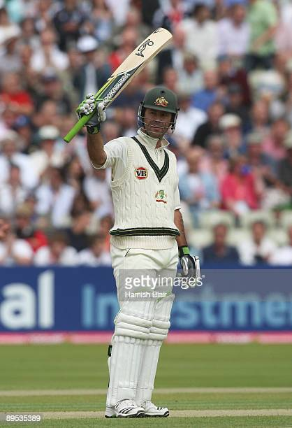 Ricky Ponting of Australia acknowledges the crowd after passing former Australia captain Allan Border's test run total of 11174 during day two of the...