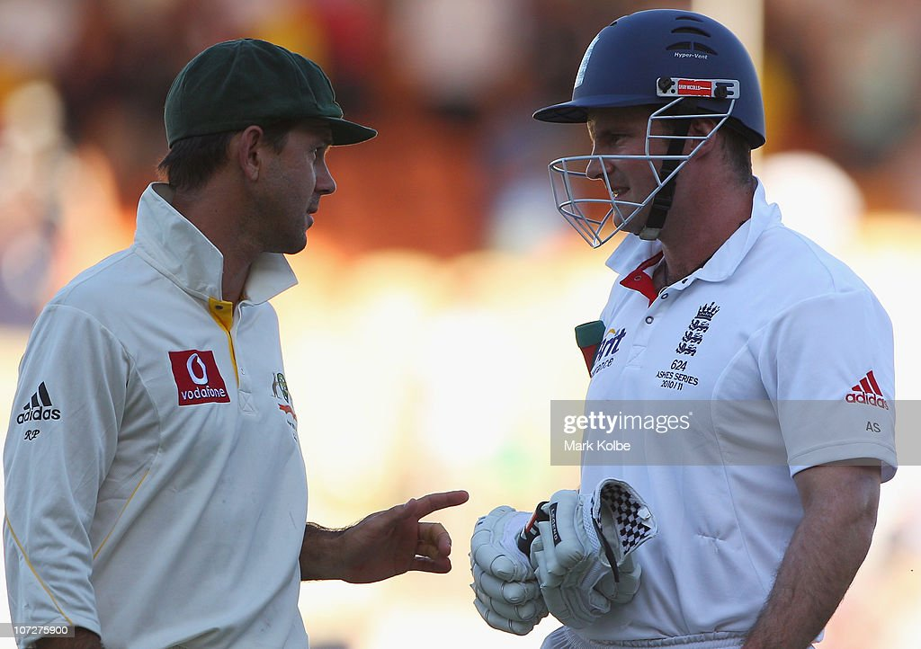Ricky Ponting of Australia and Andrew Strauss of England exchange words at the end of play during day one of the Second Ashes Test match between Australia and England at Adelaide Oval on December 3, 2010 in Adelaide, Australia.