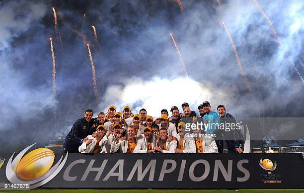 Ricky Ponting of Australia and the rest of the team celebrate with the trophy during the ICC Champions Trophy Final between Australia and New Zealand...