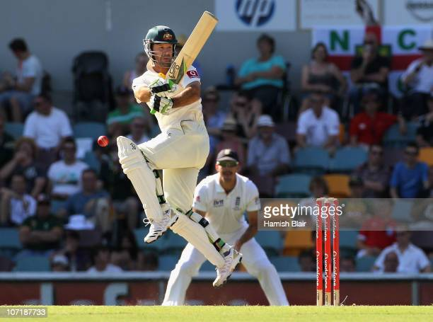 Ricky Ponting of Australia attempts a pull shot during day five of the First Ashes Test match between Australia and England at The Gabba on November...