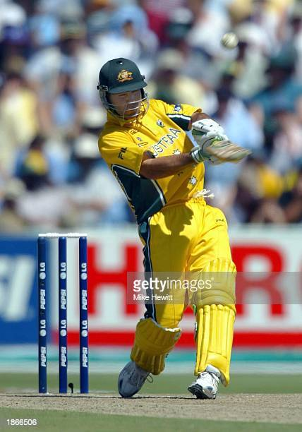 Ricky Ponting of Australia blasts a six off the bowling of Javagal Srinath the ICC Cricket World Cup Final between India and Australia at the...