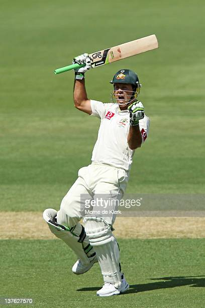 Ricky Ponting of Australia celebrates after getting 100 runs during day one of the Fourth Test Match between Australia and India at Adelaide Oval on...