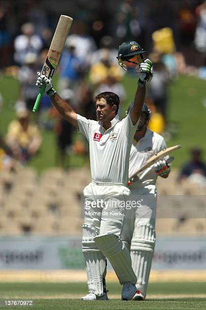 Ricky Ponting of Australia celebrates after passing 200 runs during day two of the Fourth Test Match between Australia and India at Adelaide Oval on...