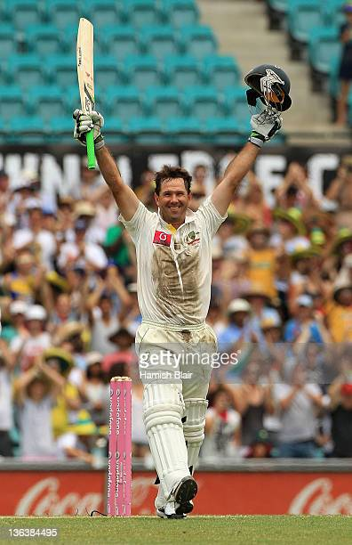 Ricky Ponting of Australia celebrates his century during day two of the Second Test Match between Australia and India at Sydney Cricket Ground on...