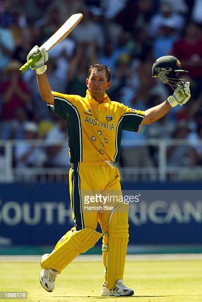 Ricky Ponting of Australia celebrates his century during the World Cup Final One Day International Match between Australia and India played at the...