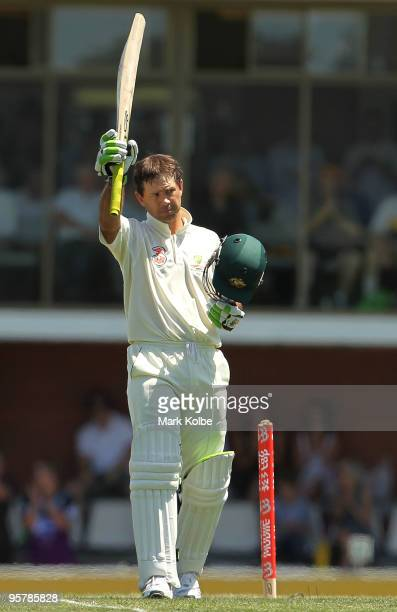Ricky Ponting of Australia celebrates scoring his double century during day two of the Third Test match between Australia and Pakistan at Bellerive...