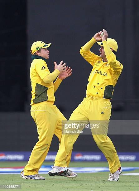 Ricky Ponting of Australia collides with team mate Steven Smith as he takes a catch to dismiss Harvir Baidwan of Canada from the bowling of Jason...