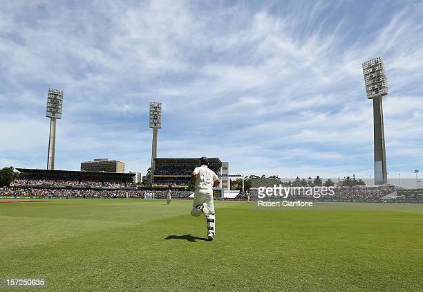 Ricky Ponting of Australia comes out to bat during day two of the Third Test Match between Australia and South Africa at WACA on December 1 2012 in...