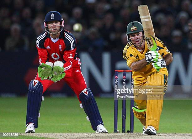 Ricky Ponting of Australia drives the ball as Matt Prior of England keeps wicket during the 5th NatWest One Day International between England and...