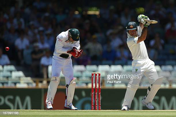 Ricky Ponting of Australia edges the ball to Jacques Kallis of South Africa during day four of the Third Test Match between Australia and South...