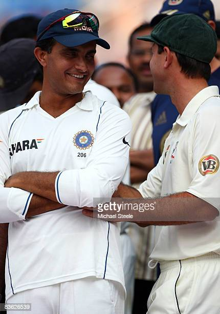 Ricky Ponting of Australia embraces Sourav Ganguly of India during the post-match presentation ceremony after day five of the Fourth Test match...