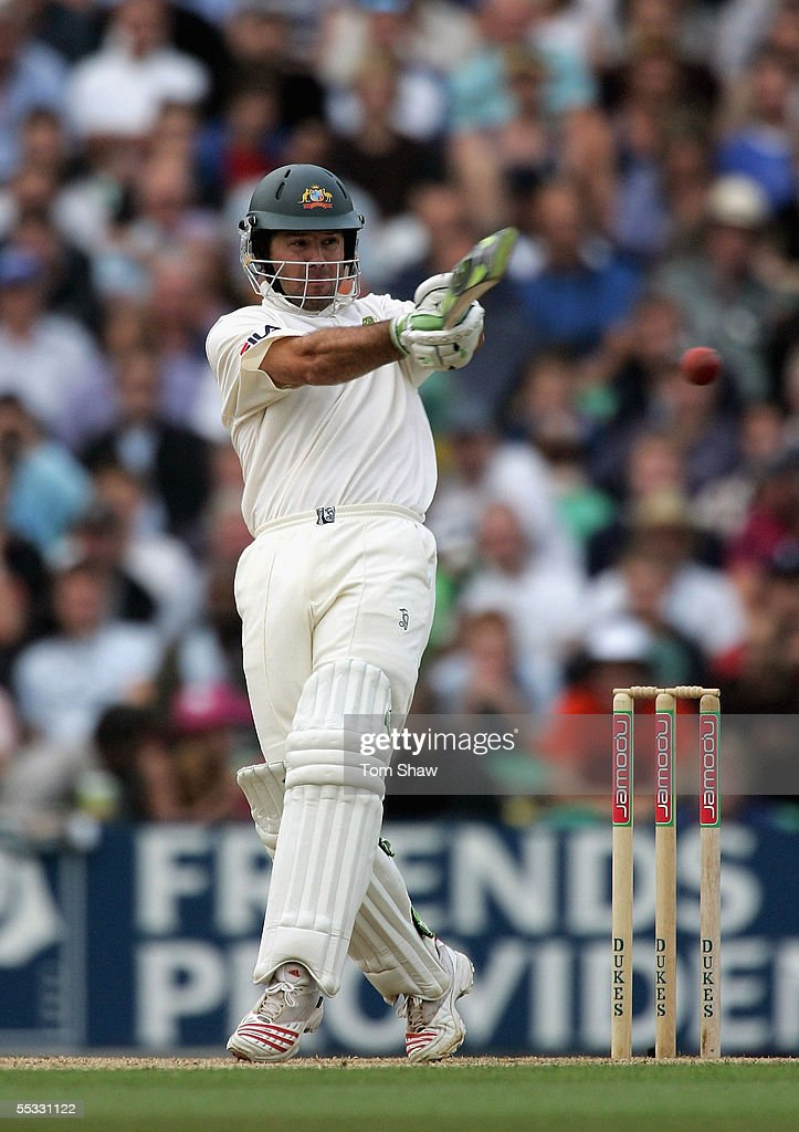 Ricky Ponting of Australia hits out during day three of the Fifth npower Ashes Test match between England and Australia at the Brit Oval on September 10, 2005 in London, England.