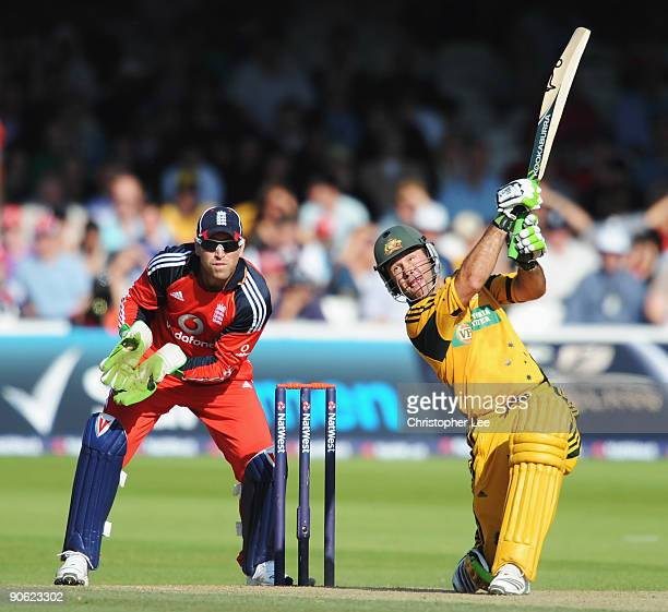 Ricky Ponting of Australia hits out watched by Matt Prior of England during the 4th NatWest One Day International between England and Australia at...