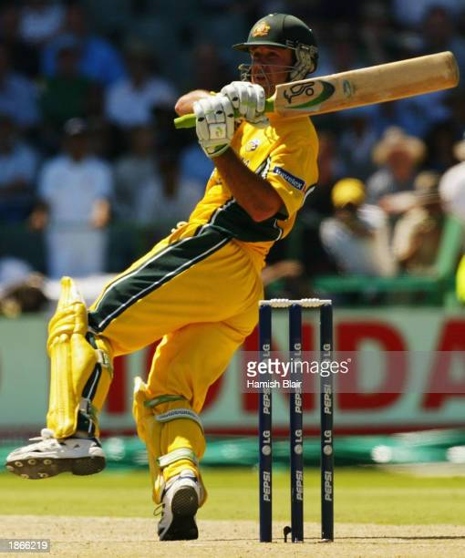 Ricky Ponting of Australia hits the last ball of the innings for four during the World Cup Final One Day International Match between Australia and...