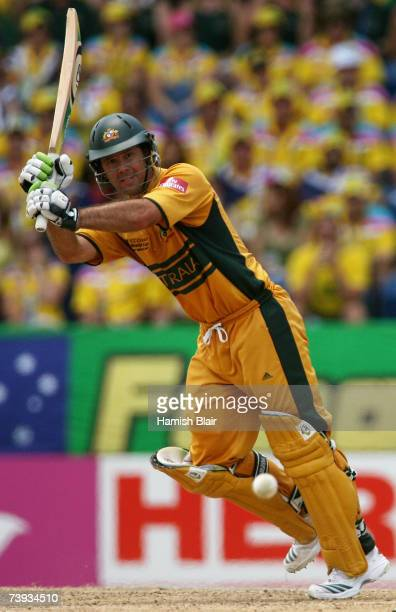 Ricky Ponting of Australia hits through mid wicket during the ICC Cricket World Cup 2007 Super Eight match between Australia and New Zealand at the...