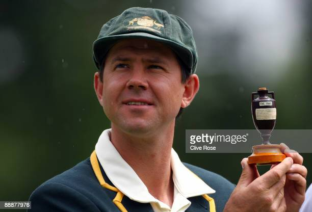 Ricky Ponting of Australia holds the Ashes urn ahead of the first Ashes Npower Test Match at the Swalec Stadium on July 7 2009 in Cardiff Wales
