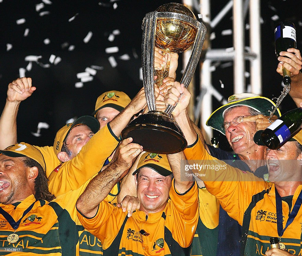 Ricky Ponting of Australia holds the ICC Cricket World Cup trophy after the ICC Cricket World Cup Final between Australia and Sri Lanka at the Kensington Oval on April 28, 2007 in Bridgetown, Barbados.