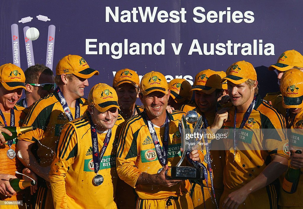 Ricky Ponting of Australia holds the NatWest Series trophy after the 7th NatWest One Day International between England and Australia at The Riverside on September 20, 2009 in Chester-le-Street, Durham, England.