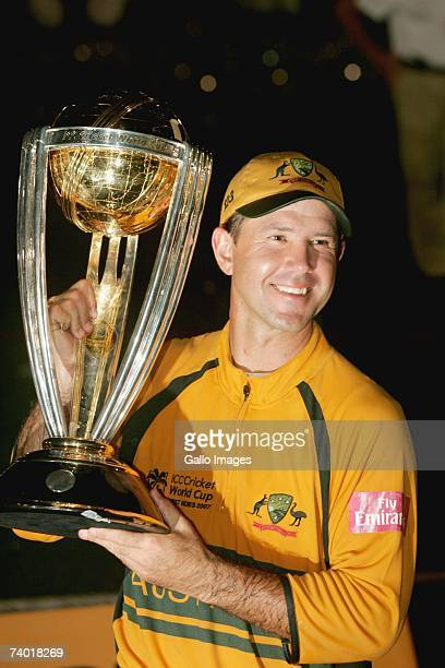 Ricky Ponting of Australia holds the trophy after winning the 2007 Cricket World Cup Final between Sri Lanka and Australia on April 28 2007 in...