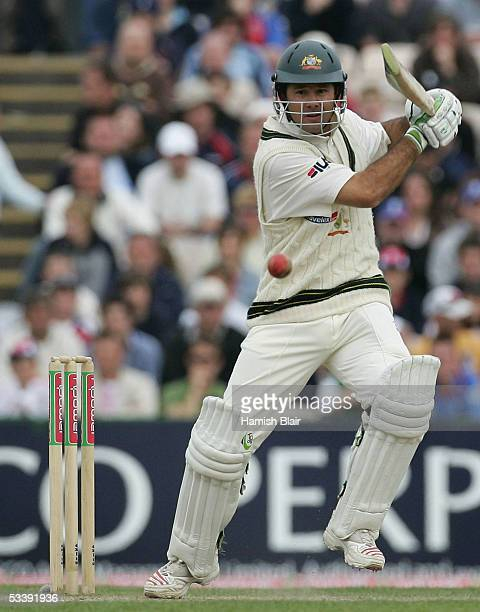 Ricky Ponting of Australia in action during day five of the Third npower Ashes Test between England and Australia played at Old Trafford on August 15...